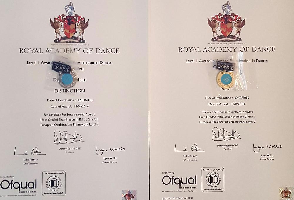 RAD ballet certificate London