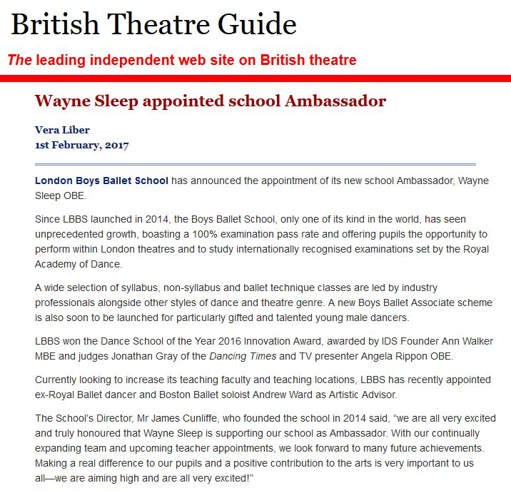 British Theatre Guide - wayne sleep