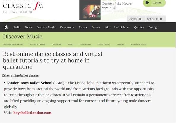 Boys Ballet Online Training