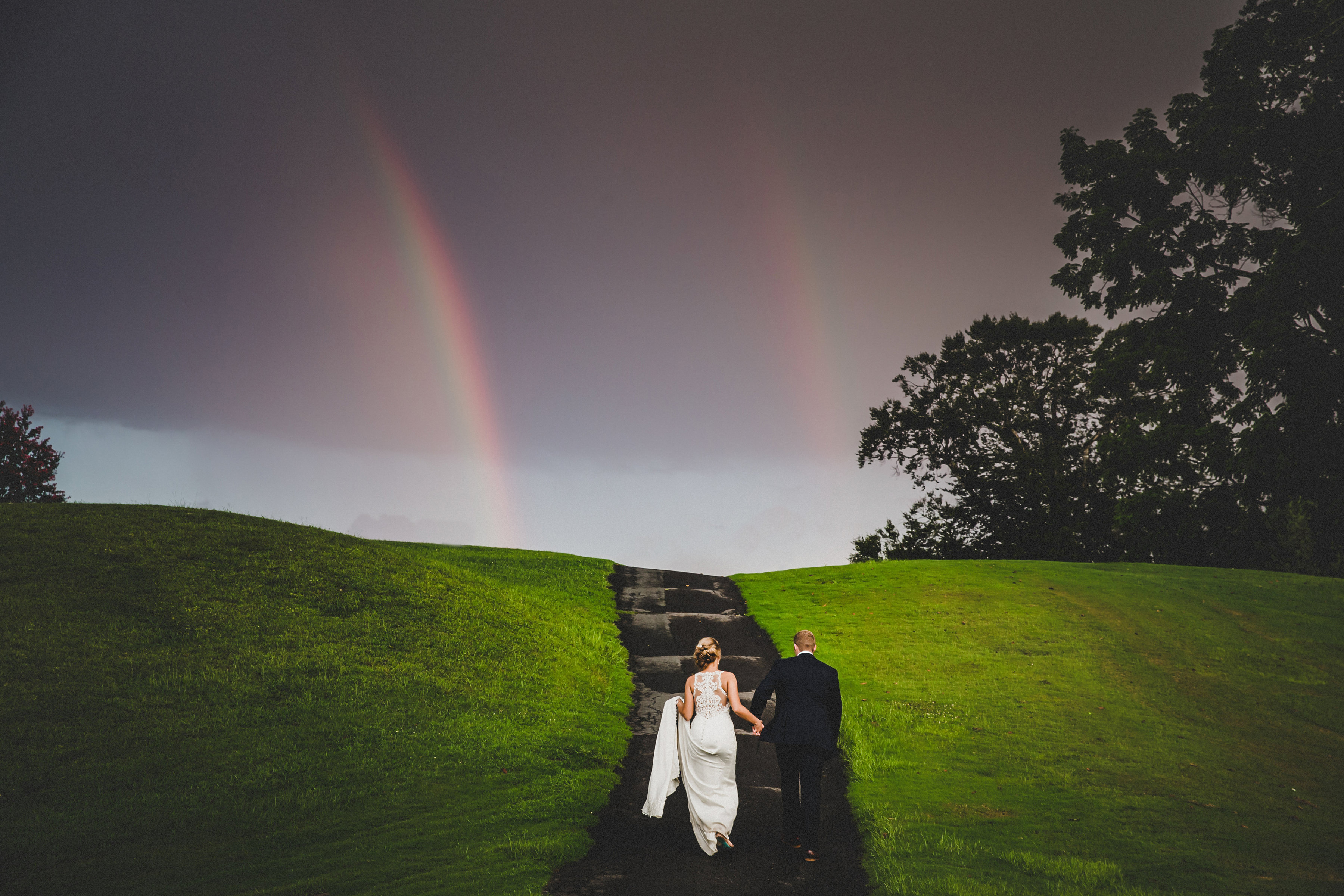 Bride and Groom Portrait Rainbow