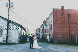 Bride and Groom in Downtown Setting