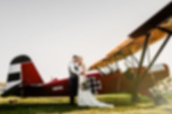 Bride and Groom Airplane Portrait
