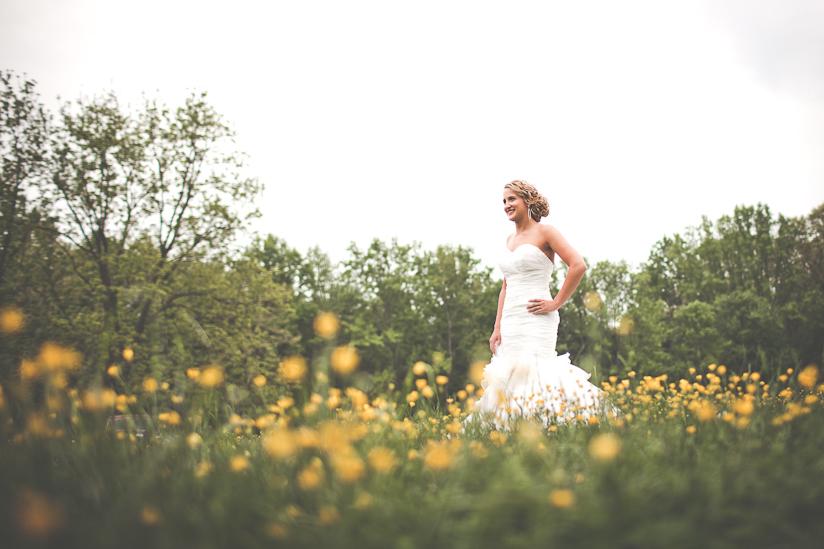 Bridal Portrait in Field of Flowers