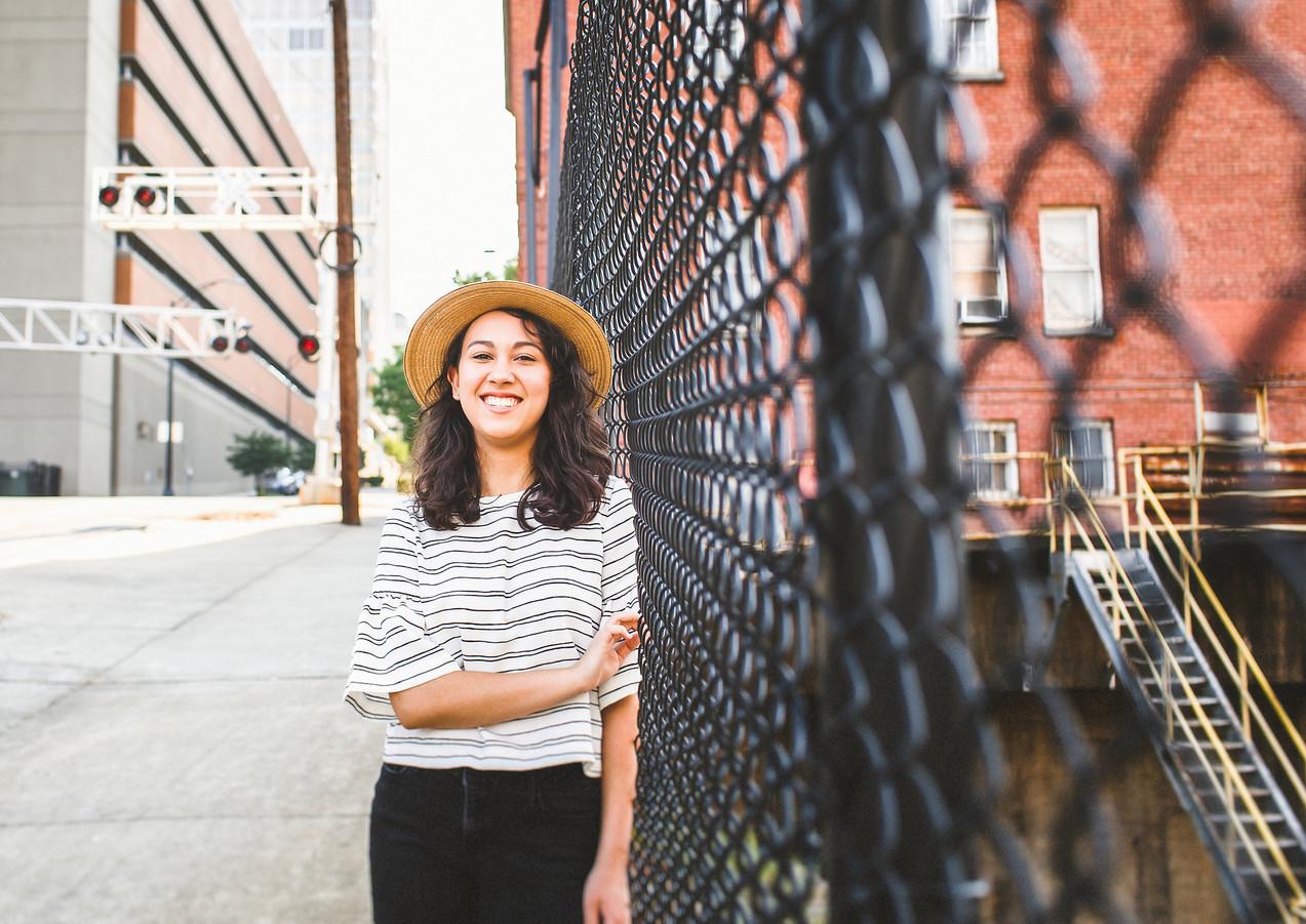 Urban-Fence-Senior-Portrait-Downtown-NC.