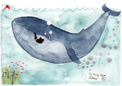 This is a whale smoking a pipe.