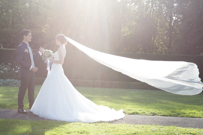 Wehender Schleier, Brautpaarshooting Villa Wenkenhof Riehen