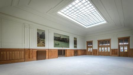 historischer Raum mit alten Malereien, Sarnierung Westflügel Bahnof SBB Basel, Architekturbilder Baudokumentation