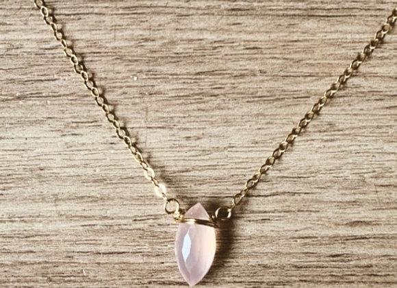 Rose Quartz Marquis Necklace