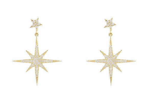 Starburst Drop Earrings, Gold