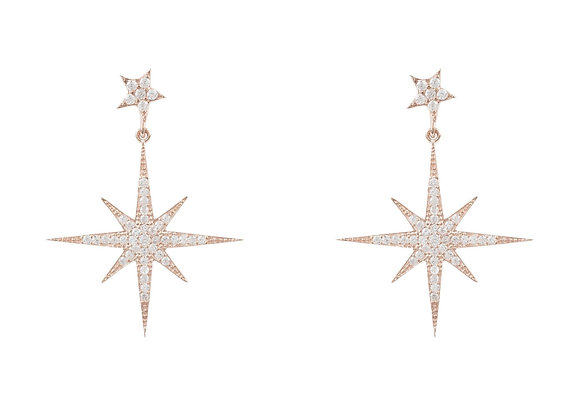 Starburst Drop Earrings, Rose Gold
