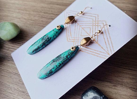 African Turquoise Teardrop Earrings