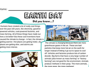 Earth Day Activities: Cut-and-Paste Craft, Reading Comprehension, & More