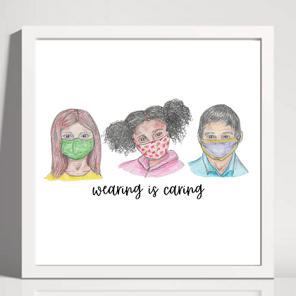"""""""Wearing is Caring"""" Printable Download Kids with Masks (Three Colors)"""