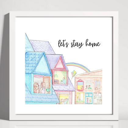 """Let's Stay Home"" Printable Download Kids in Windows (Three Colors)"