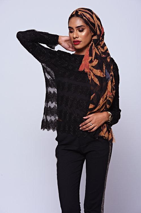 Black Bead Embellished Sheer Long Sleeve Top