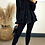Thumbnail: Black Frilled Zip Up Hooded Top With Draw Cord Pull In Waist And Slim Jogger