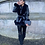Thumbnail: Black Leather Look Belted Coat With Faux Fur Trims