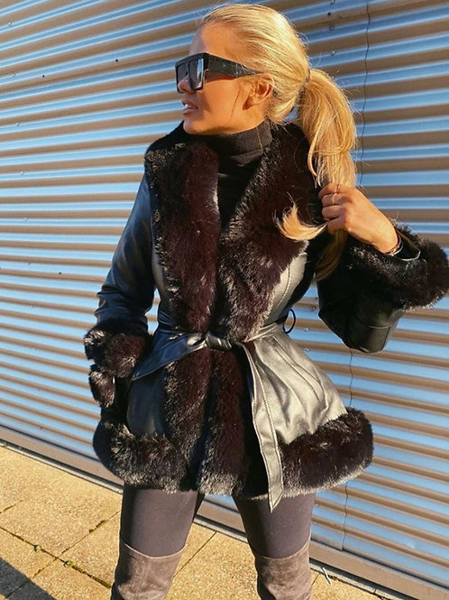 Black Leather Look Belted Coat With Faux Fur Trims