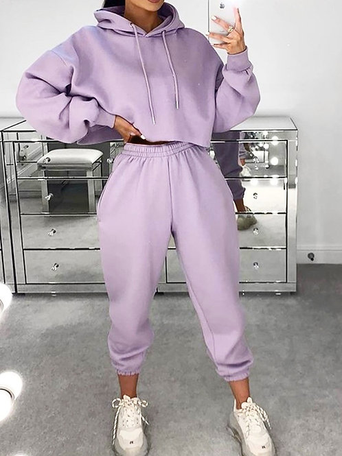 Lilac Crop Hoodie and Joggers With Elasticated Waist and Cuff