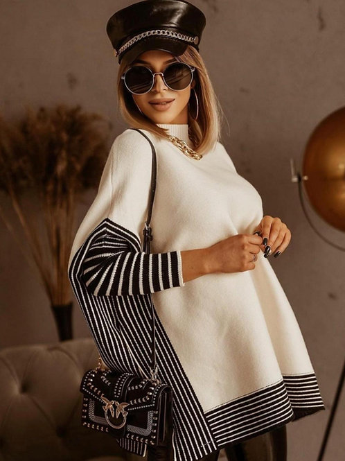 Cream Ribbed High Neck Cape Finish Jumper With Contrast Trim And Side Split