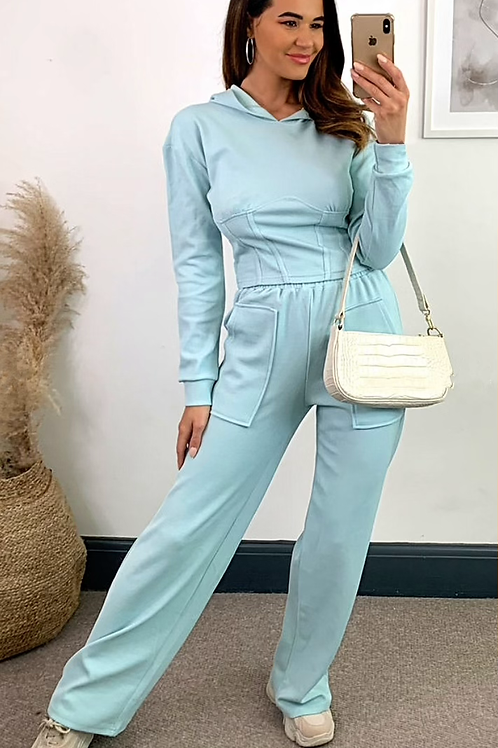 Mint Corset Style Short Hoodie With Straight Leg Jogger Set
