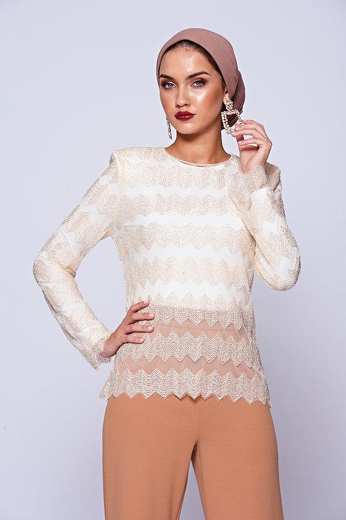 Cream Bead Embellished Sheer Long Sleeve Top