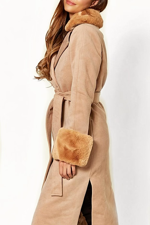 Beige Melton Feel Long Coat With Detachable Faux Fur Collar, Cuffs and Belt