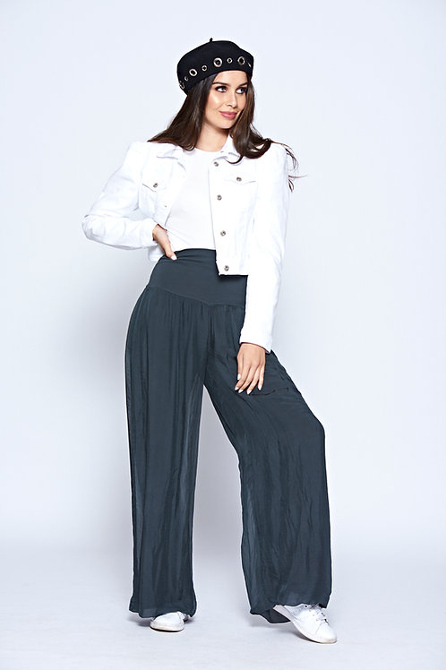 Steel Grey Fully Lined Soft Touch Wide Leg Trousers With Deep Stretch Waistband
