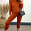 Thumbnail: Burnt Orange Cable Knit Coord With Crew Neck Jumper and Leggings