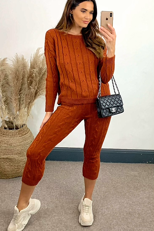 Burnt Orange Cable Knit Coord With Crew Neck Jumper and Leggings