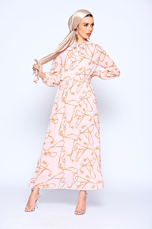 Pink Chain Print Maxi Dress With Tie Front