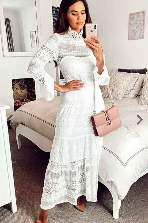 White Crochet High Neck Maxi Dress With Gypsy Trim