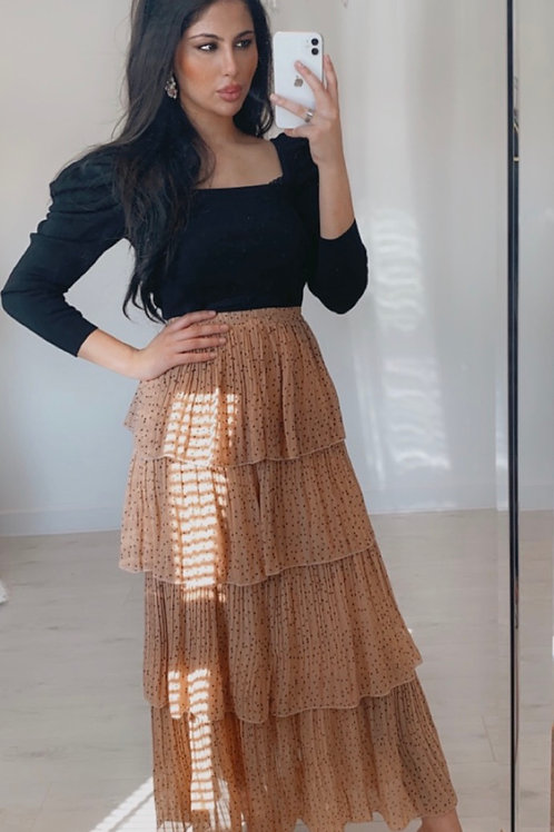 Blush Pink Ruffle Layered Elasticated Stretch Maxi Skirt