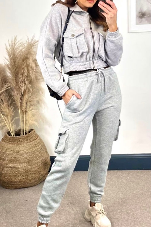 Light Grey Tracksuit With Zip Through High Neck Top And Elasticated Joggers