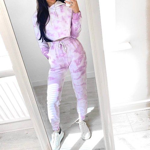 Premium Tie Dye Crop Hoodie and Joggers With Elasticated Waist and Cuff