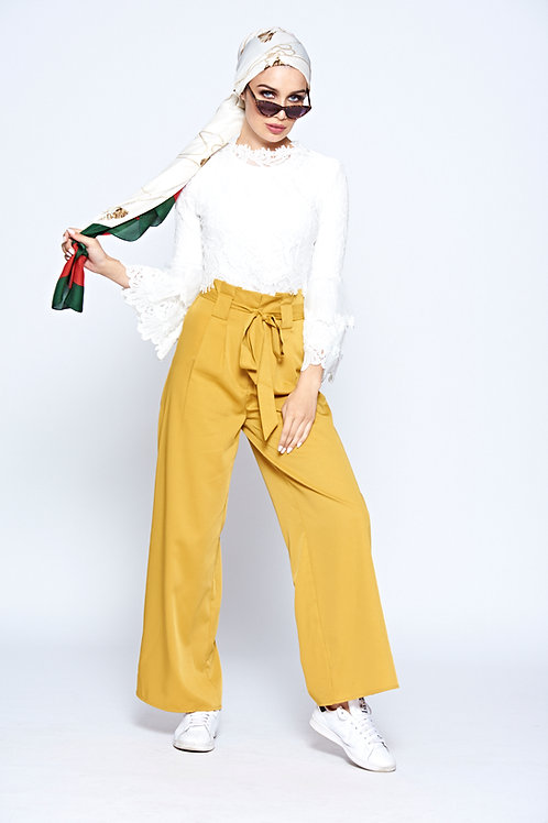 Mustard Palazzo High Waisted Trousers With Belt Fastening And Pleated Waist