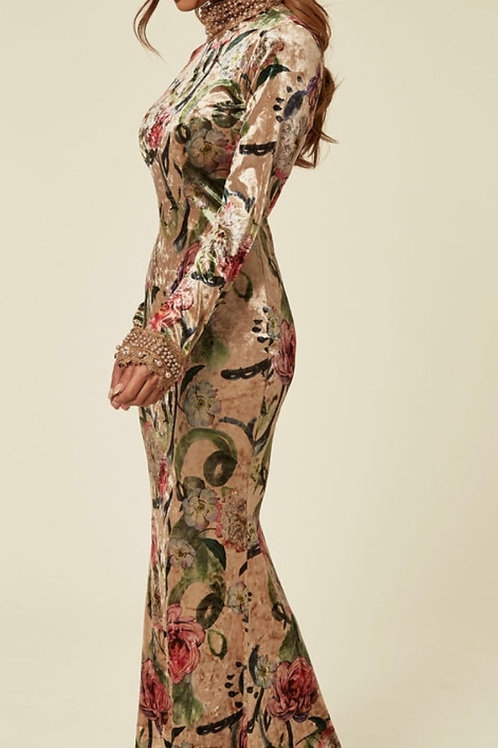 Champagne Floral Velour Long Sleeve Maxi Dress With Pearl Embellished Lace Neck