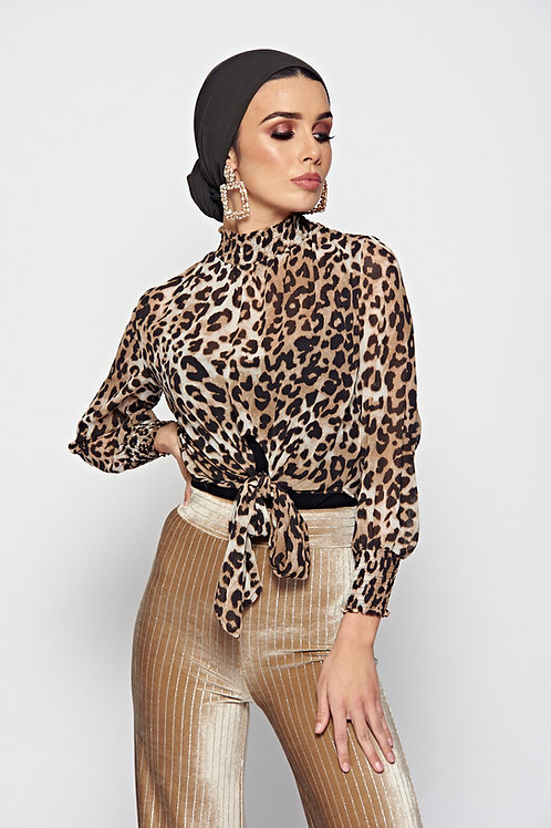 Cheetah Print Tie Front Blouse With Elasticated High Neck And Cuff