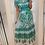 Thumbnail: Green And White Short Frill Sleeve V Neck Maxi Dress  With Belt Fastening And Ti