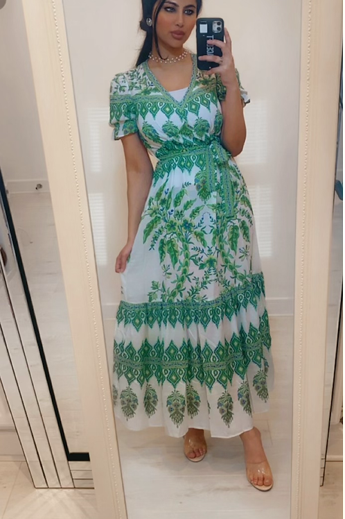 Green And White Short Frill Sleeve V Neck Maxi Dress  With Belt Fastening And Ti