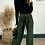 Thumbnail: Khaki Slinky Wide Leg Pleated Trousers With Belt Fastening