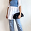 Thumbnail: White Roll Back Long Length Shirt with Contrast Blue Elastic Waist