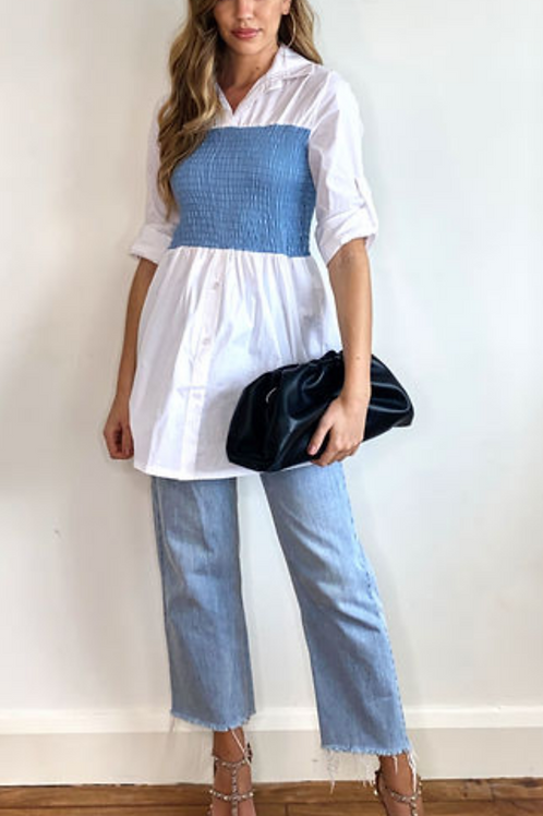 White Roll Back Long Length Shirt with Contrast Blue Elastic Waist
