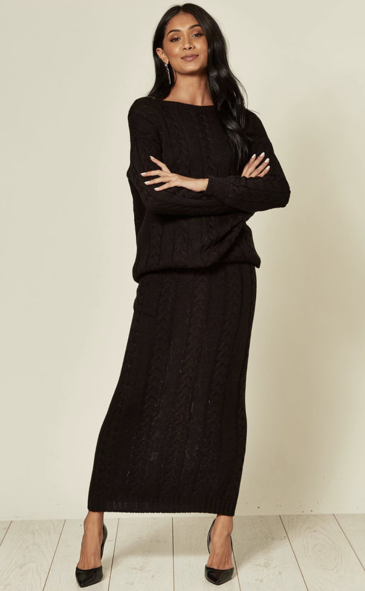 Black Cable Knit Pocket Skirt and Jumper Coord