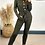 Thumbnail: Khaki Knitted Long Sleeve Jumpsuit With Detachable Belt Fastening