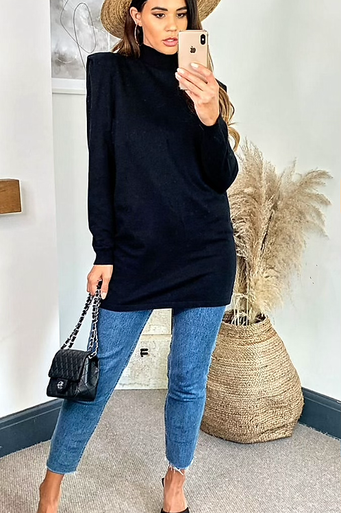 Black Knitted Fine Gauge Long Sleeve Top With Ribbed High Neck and Cuffs