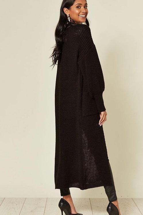 Black Balloon Sleeve Maxi Cardigan With Front Pockets