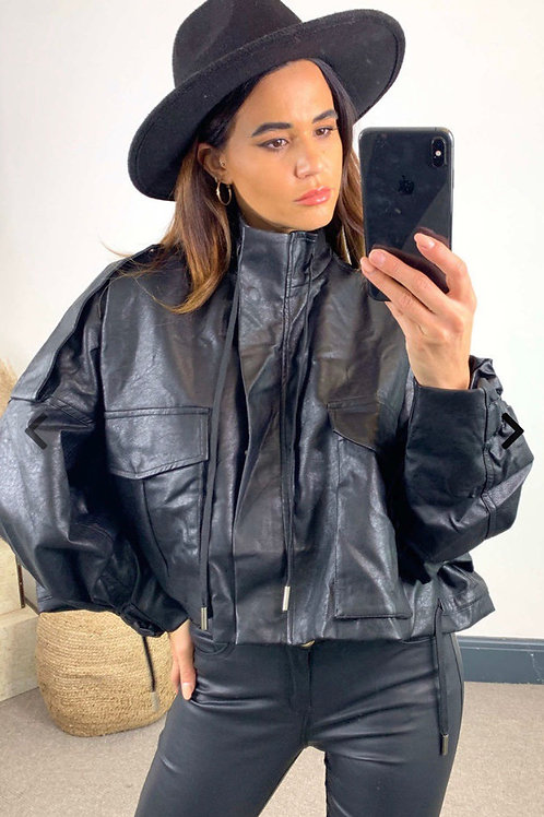Black Oversized Leather Look Biker Jacket With Zip and Button Fastening