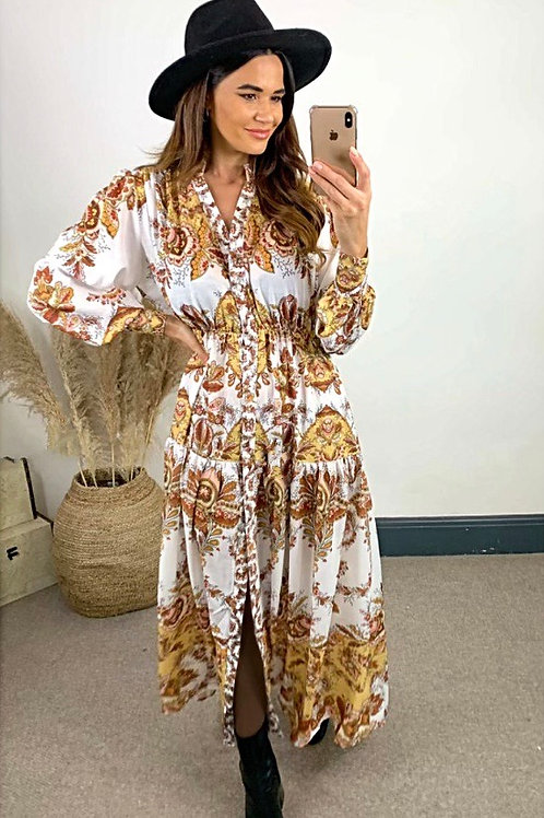 Tan Paisley Print Maxi Dress With Exaggerated Sleeves