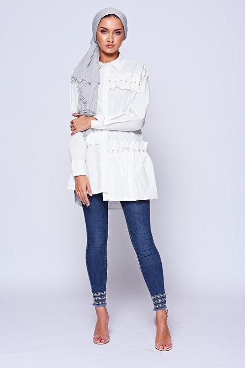 Blue Diamonte Embellished Stretch Skinny Jeans